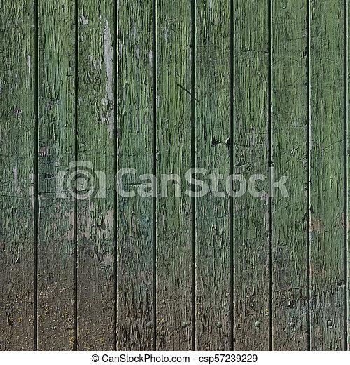 vieux, vertical, peint, partie, porte verte, planches, grange - csp57239229