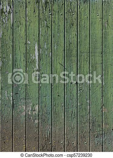 vieux, vertical, peint, partie, porte verte, planches, grange - csp57239230