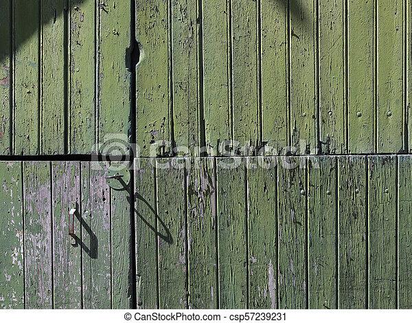 vieux, vertical, peint, partie, porte verte, planches, grange - csp57239231