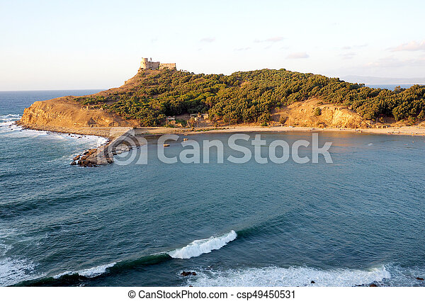 View across the bay to Tabarka old fortress, Tunisia - csp49450531