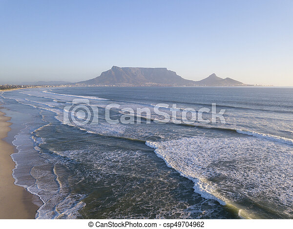 View across the ocean to Table Mountain, Cape Town, South Africa - csp49704962