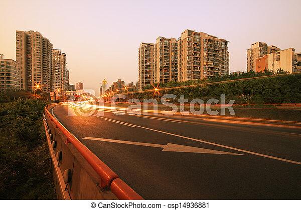 View dusk urban night traffic on the highway - csp14936881