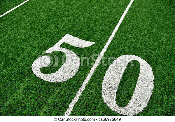 View From Above of Fifty Yard Line on American Football Field - csp6975849