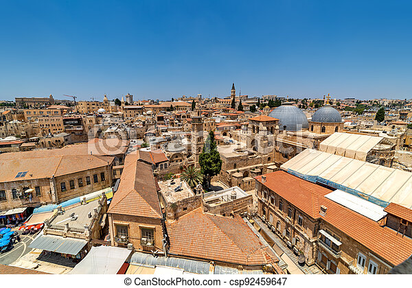 View from above of old city of Jerusalem, Israel. - csp92459647