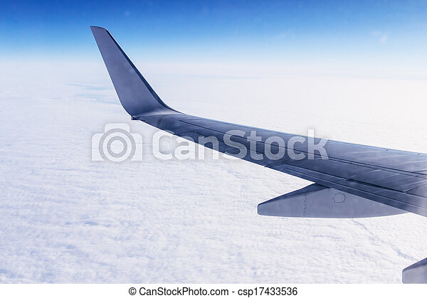 View from airplane window with wing - csp17433536