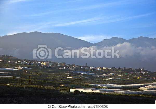 view from airport La Palma to the hills - csp7690808