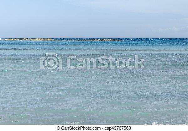 View from Baby beach on Aruba island - csp43767560