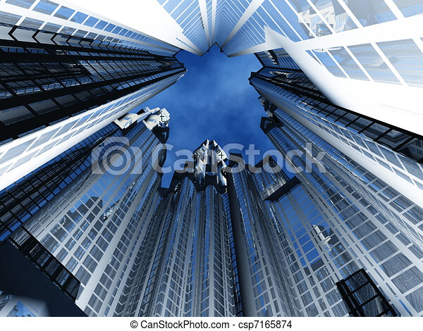 View from below at a circle of high-rise buildings - csp7165874