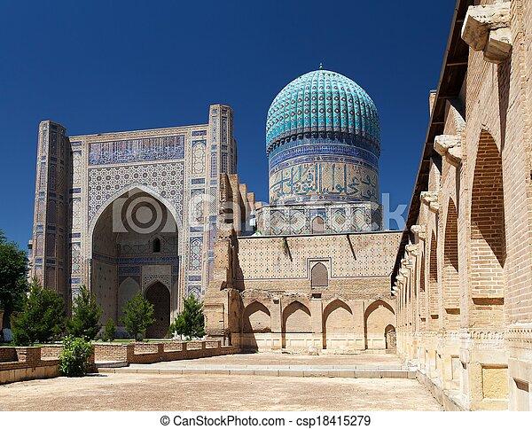 View from Bibi-Khanym mosque - Registan - Samarkand - Uzbekistan  - csp18415279
