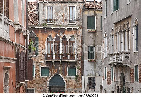 View from Calle Drio la Chiesa Street Bridge, Venice - csp28862771