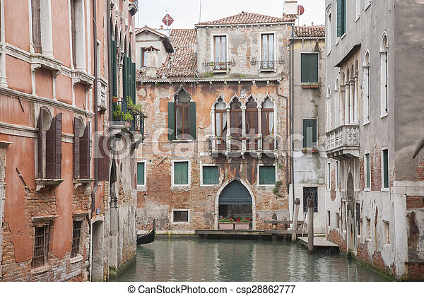 View from Calle Drio la Chiesa Street Bridge, Venice - csp28862777
