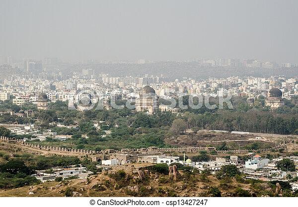View from Golkonda Fort towards Sev - csp13427247