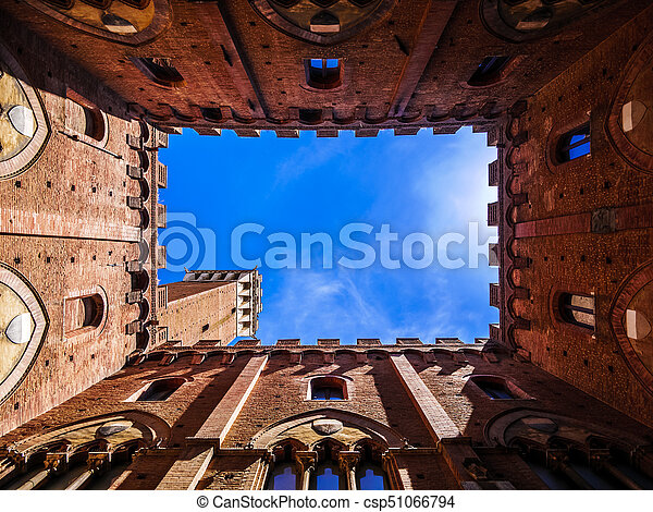 View from inside of The Torre del Mangia tower in Siena, Tuscany, Italy - csp51066794