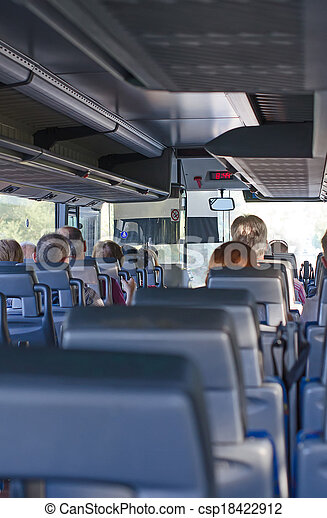 View from inside the bus with passengers. - csp18422912