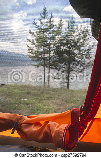 View from inside the tent. - csp27592794