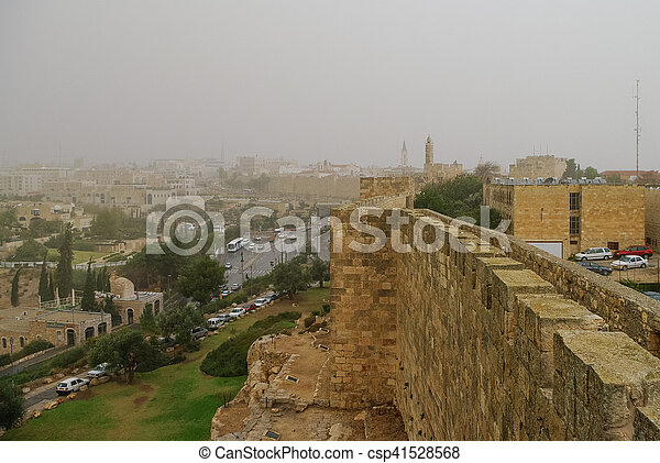 View from Jerusalem old city walls in sandstorm. Jerusalem, Israel - csp41528568