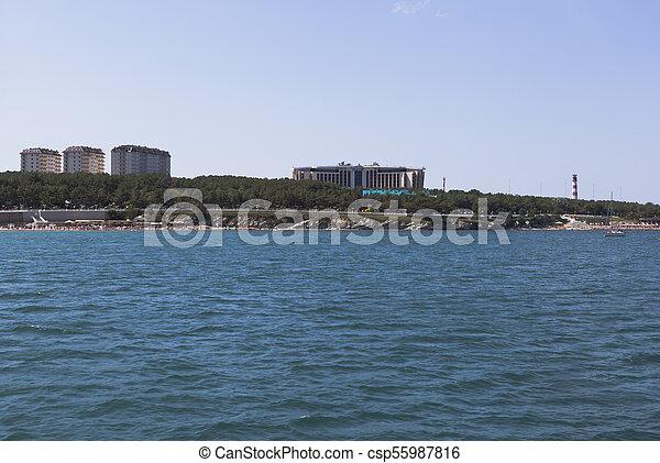 View from of the sea on a Thick Cape of Gelendzhik Bay. City resort Gelendzhik, Krasnodar Region, Russia - csp55987816