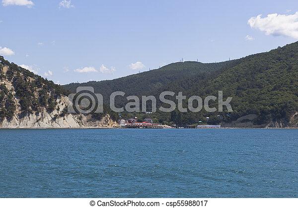 View from of the sea on resort settlement Dzhanhot in Gelendzhik district Krasnodar region, Russia - csp55988017
