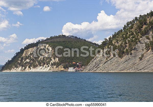 View from of the sea on resort settlement Dzhanhot in Gelendzhik district of Krasnodar region - csp55990041