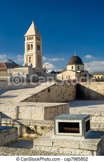 View from one of the roofs in Jerusalem - csp7985802