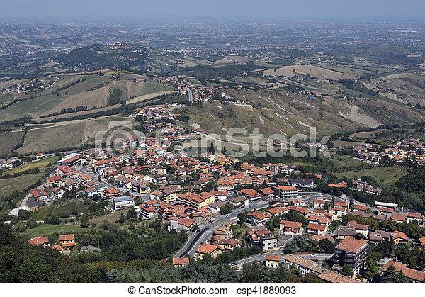 View from San Marino to Italian Coast - csp41889093
