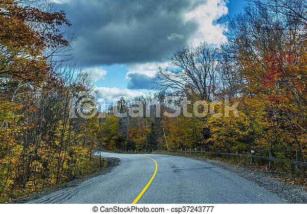 View from scenic country road in fall - csp37243777