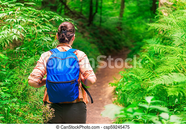 view from the back of a woman hiking in a summer forest - csp59245475