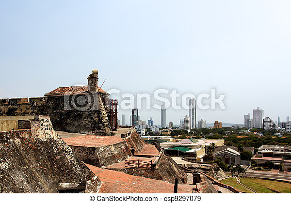 View from the Castle to the City of Cartagena - csp9297079