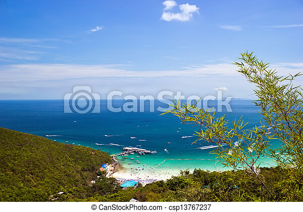 View from the top of the mountain in Koh Lan - csp13767237