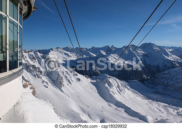 View from the top of the Valluga mountain - csp18029932