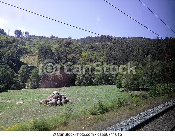view from the train window while driving - csp66741615