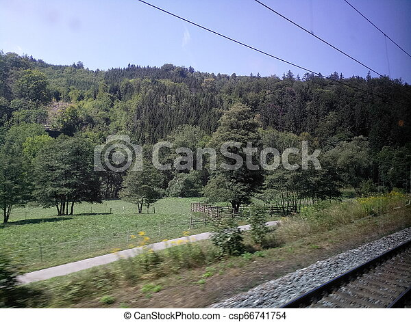 view from the train window while driving - csp66741754