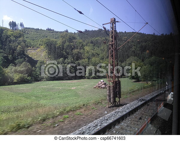 view from the train window while driving - csp66741603