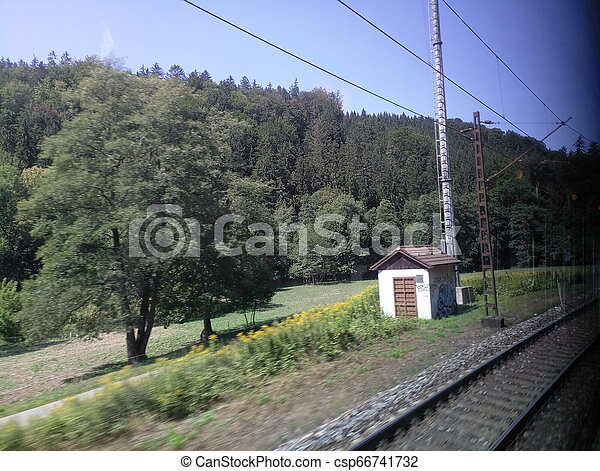 view from the train window while driving - csp66741732