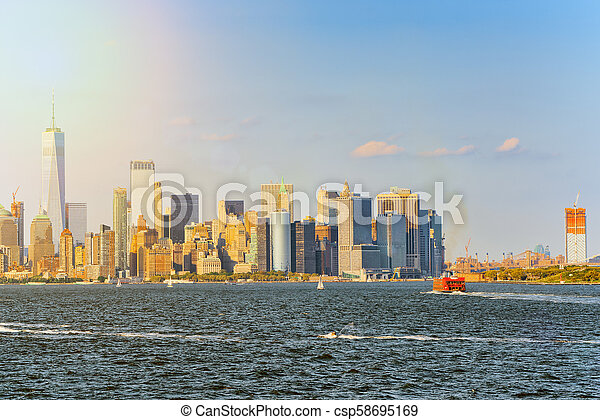 Hudson Bay New York.View From The Water From Hudson Bay To Lower Manhattan New York City Financial Capital Of America