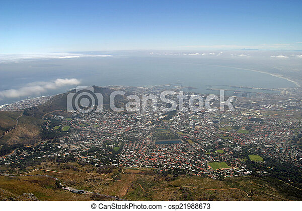 View from top of Table Mountain in Cape Town, South Africa - csp21988673