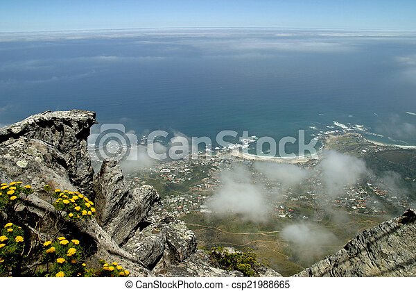View from top of Table Mountain in Cape Town, South Africa - csp21988665