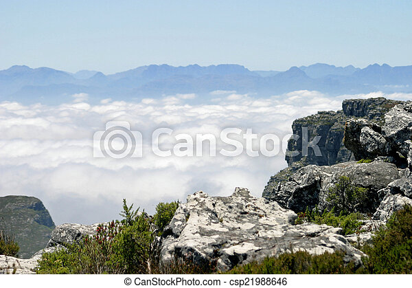 View from top of Table Mountain in Cape Town, South Africa - csp21988646