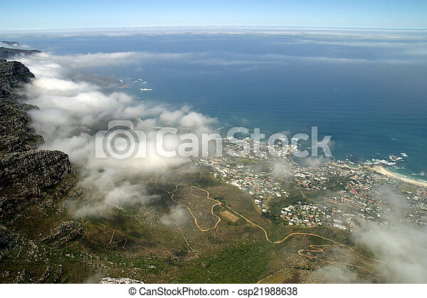View from top of Table Mountain in Cape Town, South Africa - csp21988638