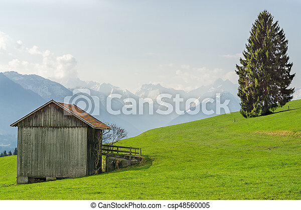View from wooden barn to snow covered mountains in springtime - csp48560005
