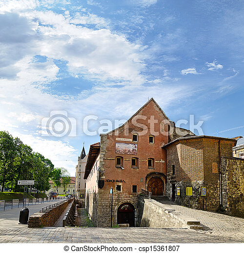 view in the old town of Lviv, Ukraine - csp15361807