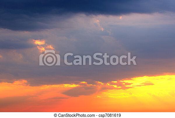 View of a beautiful sunset sky - csp7081619