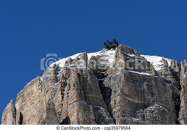 View of a Cable Car Station in the Dolomites at the Pordoi Pass - csp35979564