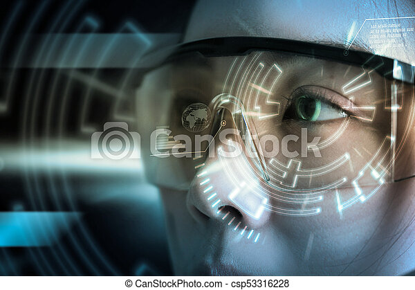 View of a Futuristic eye technology user interface with scan. - csp53316228
