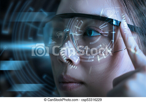 View of a Futuristic eye technology user interface with scan. - csp53316229