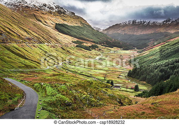 View of a mountain valley in Scotland - csp18928232