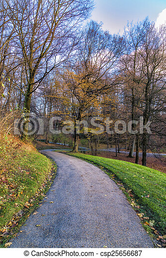 View of a Park in Autumn - csp25656687