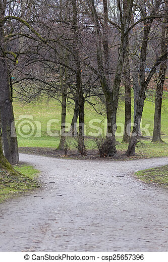 View of a Park in Autumn - csp25657396