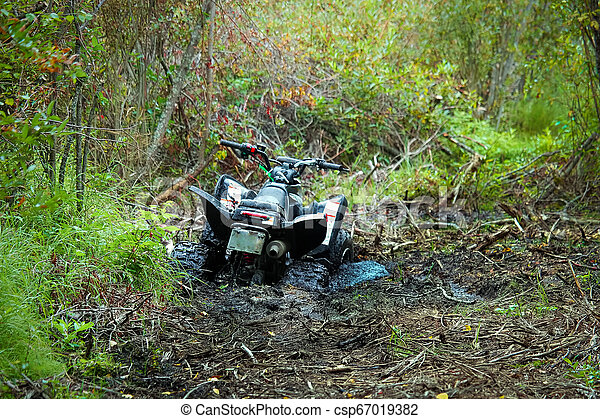 View of a quad stuck in the mud - csp67019382