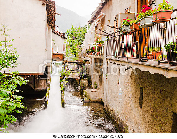 view of a small village on the italian alps - csp34257079